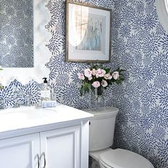 I hope you all are having a wonderful Friday! I can't believe another week is already wrapping up and that today is the first day of autumn! I wanted to pop in and share a few pictures of a powder room we have been working on. Room Wallpaper, Funky Wallpaper, Dear Lillie, Powder Room Design, Bathroom Design Inspiration, Small Bathroom, Blue Bathrooms, Beautiful Bathrooms, Bathroom Renovations