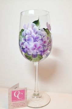Hand painted 16oz. Purple Hydrangea Clear Wineglass.  Perfect for your favourite wine.  Great for Mother's Day, Birthdays, Teacher's gifts by CCCraftsatHome on Etsy