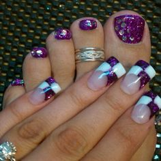 purple and white checkered flare nails #wide #french mani & pedi