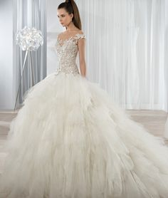 Illusion Bateau Neck Lace Bodice Ball Gown Ruffled Tulle Wedding Dress