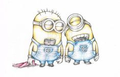Minions Despicable Me Art colour Pencil Drawing High Quality Signed A4 Print