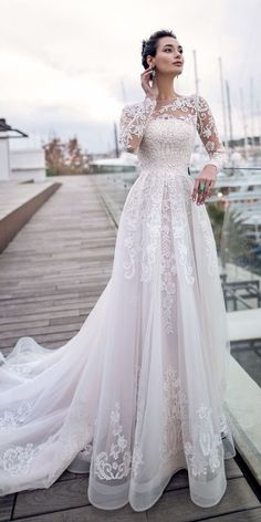 24 Best Lace Wedding Dresses With Sleeves ❤️ lace wedding dresses with long sleeves a line with train nora naviano ❤️ Full gallery: https://weddingdressesguide.com/lace-wedding-dresses-with-sleeves/