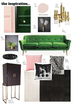 Here's a moodboard which incorporates emerald Green, blush pink, brass and dark woods. Perfect for some living room inspo!