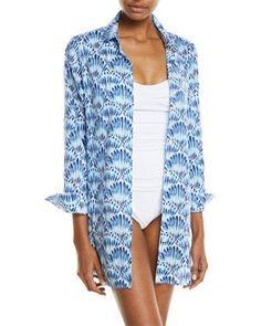 e2c5926a72 TXKWH Tommy Bahama Tie-Dye Seashell Long-Sleeve Coverup Shirt Beachwear