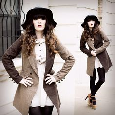 Floppy Wool Hat, Asos Check Coat, Clubcouture Khaki Dress, Black Tights, Office London Double Strap Heels, Http://Www.Jaglever.Com