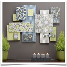 Fabric Wall Collage - Could be done a variety of ways even add photos. **Solid Colors!!