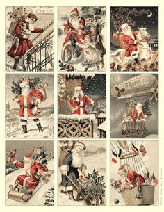 "Vintage Santa Tags {8.5""x11"" - A4, JPG} Print your own Christmas Tags! Enjoy ! Click on image to get to the larger v..."