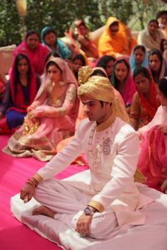Indian Groom Wear - A Delhi affair with a charming duo: Ankit and Gurveen | WedMeGood #wedmegood