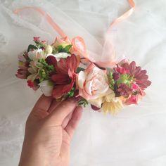 Blush Pink Flower Crown Bohemian Head Wreath Spring by LisaUaShop