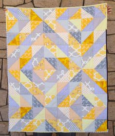 Gray-and-Yellow Half-Square Triangles Quilt, 2013
