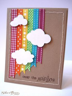 This would be a cute card for Get well- (feeling a little under the weather, just thought I would send you a little cheer) I love this Over The Rainbow Card. Spring crafts for kids can be the perfect pick me up! Ribbon Cards, Paper Cards, Scrapbooking Layouts, Scrapbook Cards, Tarjetas Diy, Rainbow Card, Rainbow Ribbon, Rainbow Paper, Karten Diy