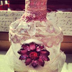 Embellished Vintage Bottle by shabbychatue on Etsy, $16.00