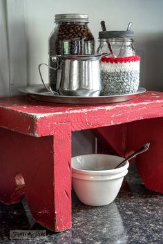 little red antique bench coffee station / Funky Junk's 2015 Summer Home Junk Tour / FunkyJunkInteriors.net