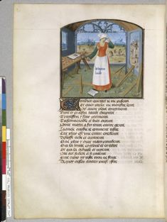 Allegory of Delight, The Twelve Dames of Rhetoric (BNF fol. second half of the century CE. Medieval Life, Medieval Clothing, Bnf, Illuminated Manuscript, 15th Century, Aprons, Motifs, Animals And Pets, Stove