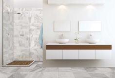 """Sovereign Stone Pearl is a coordinated tile series at Lowe's, available in several sizes.  from 6"""" x 12"""" (smallest) to 24"""" x 24"""" (largest), this tile provides a rustic stone look, featuring white and grey colorations."""