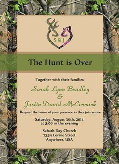 The Hunt is Over Wedding Invitation w/RSVP & by TheInkBasket, $25.00