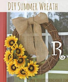 DIY Summer Sunflower Wreath Tutorial