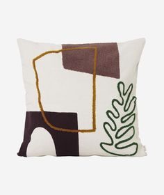 Ferm Living - Mirage Cushion - With imagery found in the mystic atmosphere of oasis and desert paradises, the Mirage series turns objects into abstract shapes and beautiful forms. The large cushions a Large Cushions, Decorative Cushions, Textiles, Reno, Abstract Shapes, Home Textile, Textile Art, Cotton Canvas, Duvet