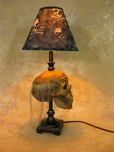 Desk Lamp w/ Corpsed Head and Bone Shade Halloween Prop Skulls NEW