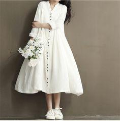 Cotton Linen White Color Women Dress Spring New Long Sleeve Stand Neck Loose Plus Size Bat Sleeve Irregular Dress