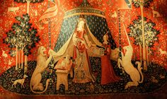 La Dame à la licorne (The Lady and the Unicorn), also called the Tapestry Cycle, is a series of six tapestries from the late often considered one of the greatest works of art of the Middle Ages. They are estimated to have been woven in the late century. Dead Can Dance, Medieval Tapestry, Medieval Art, Bayeux Tapestry, Medieval Manuscript, Dark Ages, Medieval Home Decor, Renaissance, Unicorn Cross Stitch Pattern