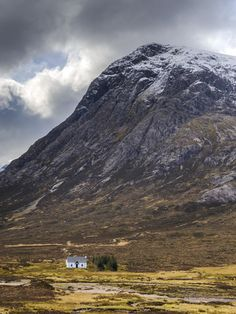 Single Small Cottage and Buachaille Etive Mor, Rannoch Moor, Glencoe, Highland Region, Scotland. Wonderful place for the anti social