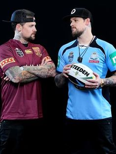 Joel and Benji Madden get ready for Wednesday's State of Origin clash.