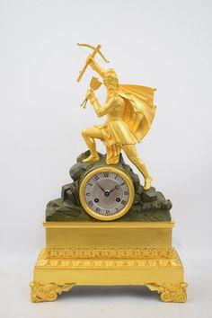 """Feuervergoldete Empire Bronze Pendule Kaminuhr  """"Wilhelm Tell"""" um 1820"""