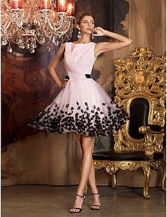 A-line šperk krk krátký / mini šifón tyle prom šaty s květinou ts couture®