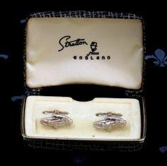 Stratton Gents Rhodium Plated Oval Polished Cufflinks in Box