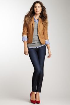 I like the grey sweater-button up- camel blazer combo with colorful shoes