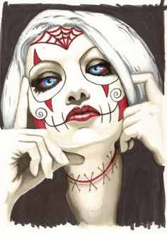 "Day of the Dead Sugar Skull ""Spyder Baby"" art by ShayneoftheDead. #art #Day_of_the_Dead #makeup"