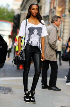 Jourdan Dunn, Leather Leggings | Street Fashion | Street Peeper | Global Street Fashion and Street Style