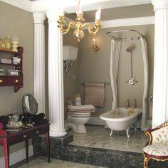 Emma Waddell's Ashthorpe Manor bathroom----Christmas-Dollshouse-Festival-London