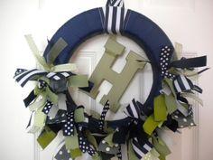 Navy & Green ribbon wreath