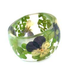 Size XL Botanical Resin Bangle. Pansy and Fern Pressed Flower  Bracelet.  Plus Size Bangle with Real Flowers. Green Purple Resin Bracelet.. $46.00, via Etsy.