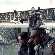 """Captain America Civil War - War Machine: James """"Rhodey"""" Rhodes, Bucky Barnes/Winter Soldier & Sam Wilson/Falcon"""