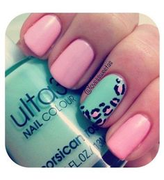 Pink/Aqua Leopard Nail Art - SOO Cute next design for my nail lady!