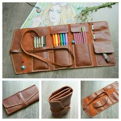 Leather bag made by hand. Pencil Holder by VenskLeather Diy Pencil Case, Leather Pencil Case, Leather Pouch, Leather Tooling, Leather Art, Leather Gifts, Leather Bags Handmade, Diy Trousse, Colored Pencil Holder