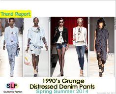 1990's Grunge Distressed Denim #Pants #Fashion Trend for Spring Summer 2014 #spring2014 #denim #jeans #trends