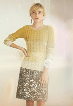 Anthropologie.  Differently pretty holiday look with ombre sweater and metallic lace skirt.  Mmm...