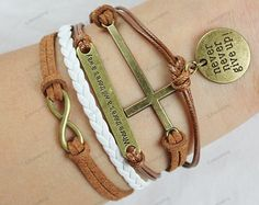 charm bracelets infinit cross bracletnever give up by lifesunshine, $8.99