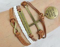 charm bracelets infinit cross bracletnever give up by lifesunshine, $8.99