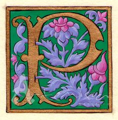 Illuminated letter P on paper faux parchment  - gold leaf and egg tempera -