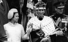 Charles, Prince of Wales being presented to the people of Wales by the Queen Elizabeth II after his Investiture ceremony in Caernarfon Castle,