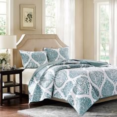 harbor house ogee 3 piece paisley blue coverlet hh13 1259 60 - Harbor House Bedding