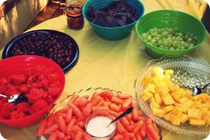 colorful healthy snacks for art party!