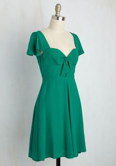 Let's Go to the Lindy Hop Dress. Though youre a master of many dance styles, this teal dress puts you in the mood for a sprightly swing! #green #modcloth