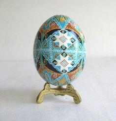 Blue and Brown Pysanka, batik egg on chicken egg shell, Ukrainian Easter egg, hand painted egg. $32.95, via Etsy.