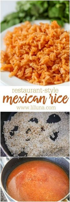 Rice Restaurant-Style Mexican Rice - it is one of the easiest and most delicious recipes you'll try! Our whole family loves it!Restaurant-Style Mexican Rice - it is one of the easiest and most delicious recipes you'll try! Our whole family loves it! Mexican Entrees, Mexican Rice Recipes, Mexican Dishes, Mexican Rice Recipe Restaurant Style, Easy Mexican Rice, Spanish Food Recipes, Mexican Slaw, Mexican Tamales, Mexican Snacks